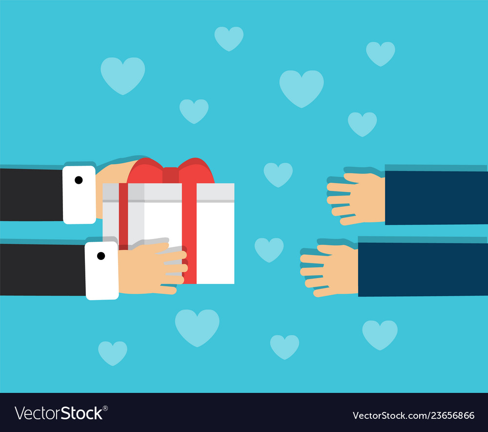 Handing a gift box to a person
