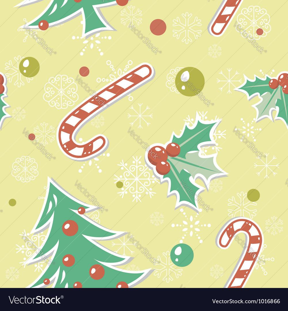 Seamless pattern with cute cartoon Christmas tree