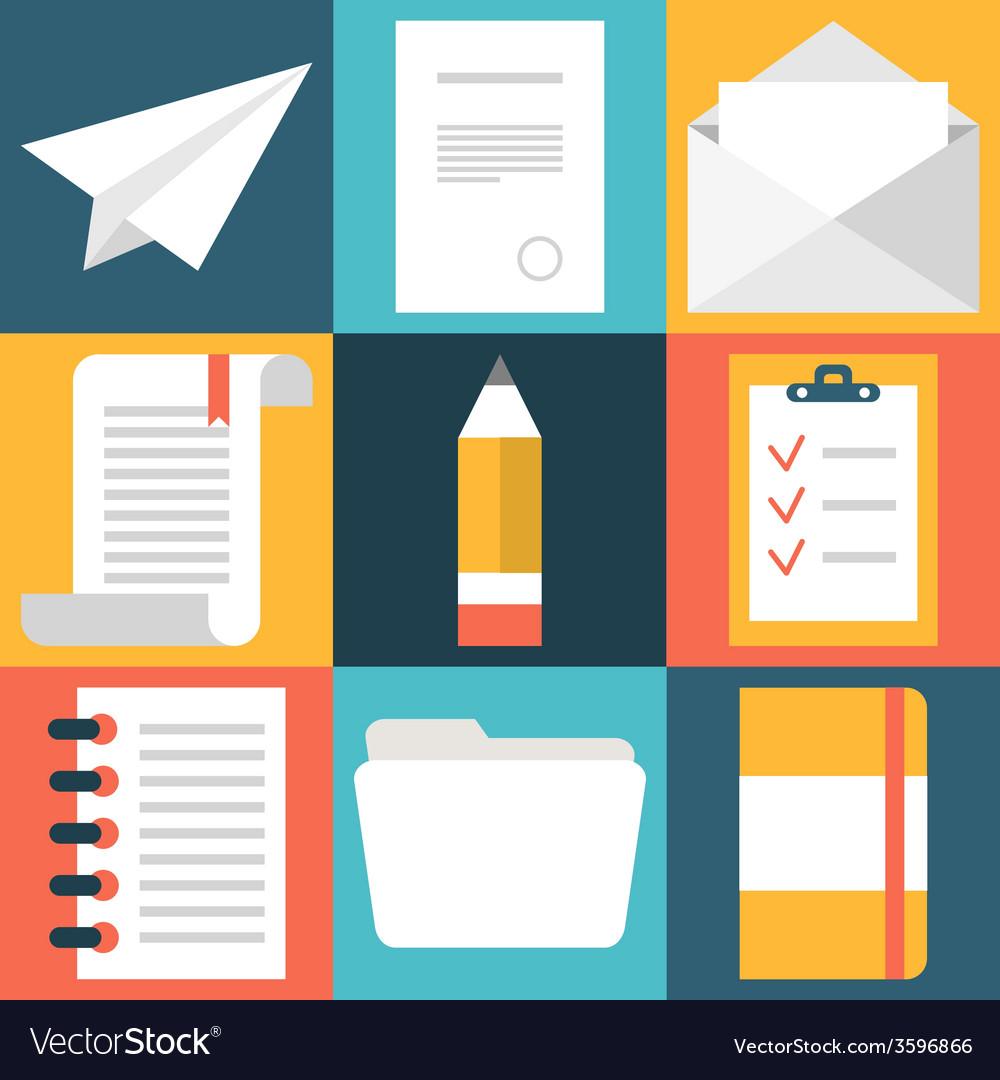 Set of flat design document icons Paper document