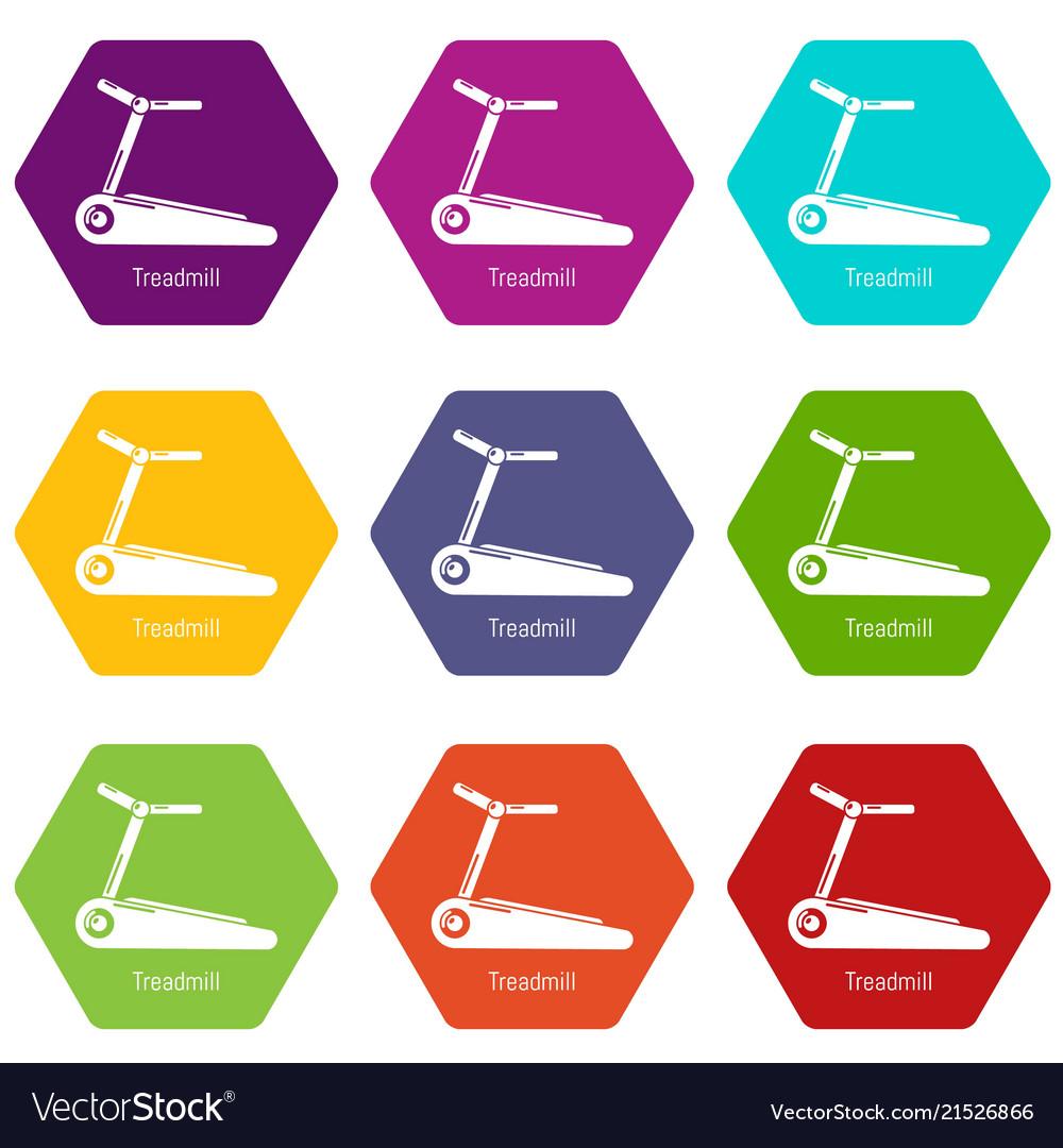 Treadmill icons set 9