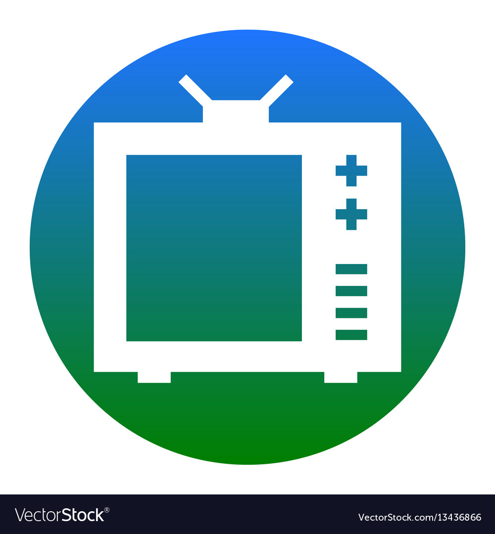Tv sign white icon in bluish