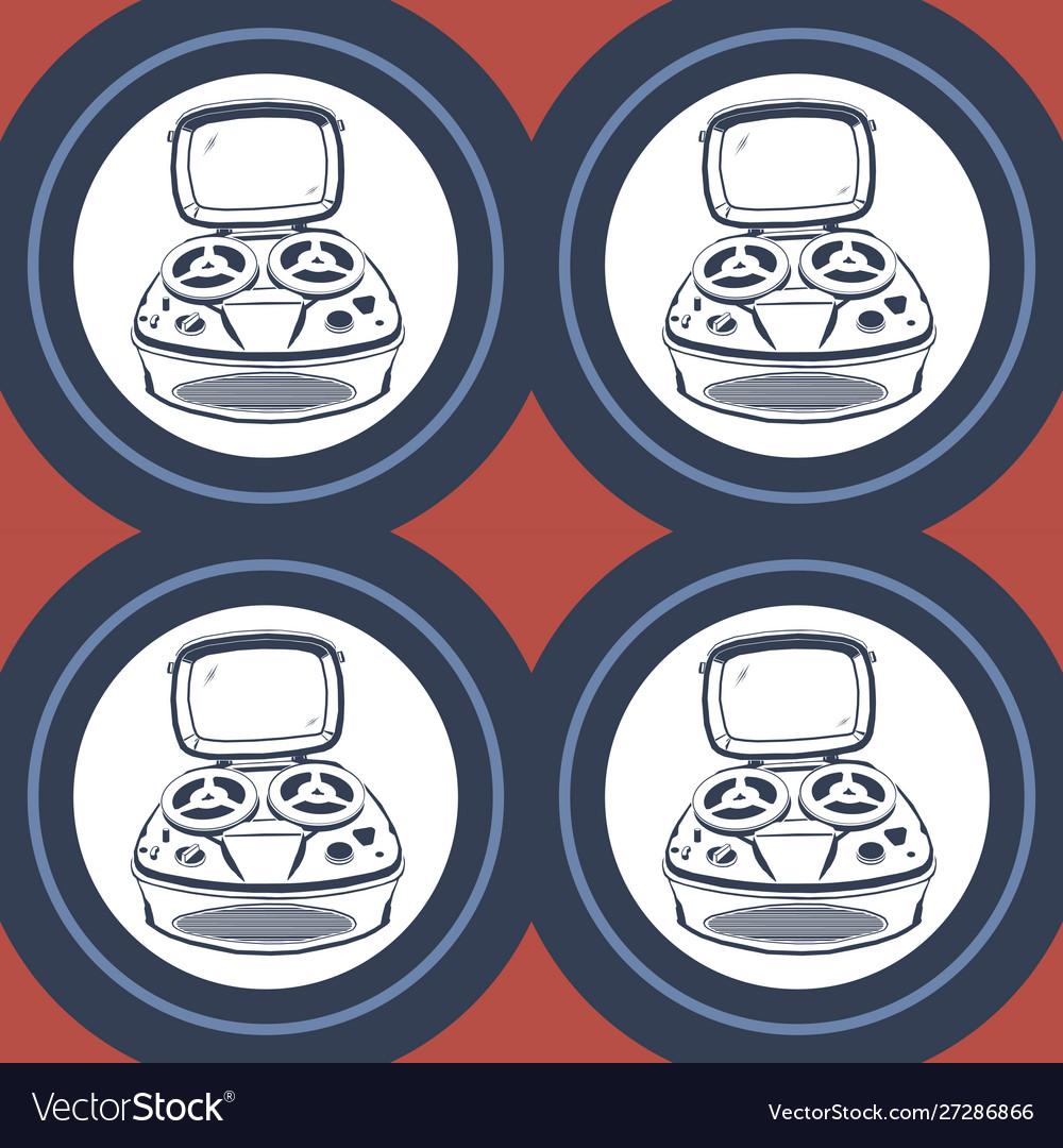 Vintage tape recorder simple color pattern