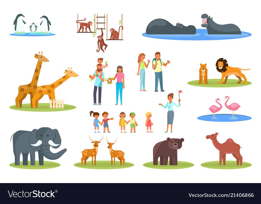 Zoo icon set flat style design