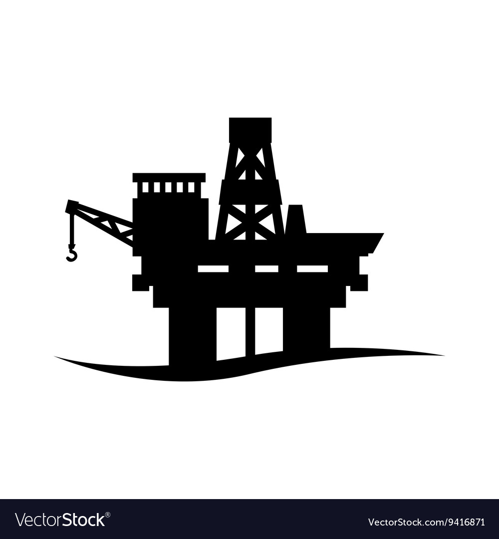 Black oil platform icon