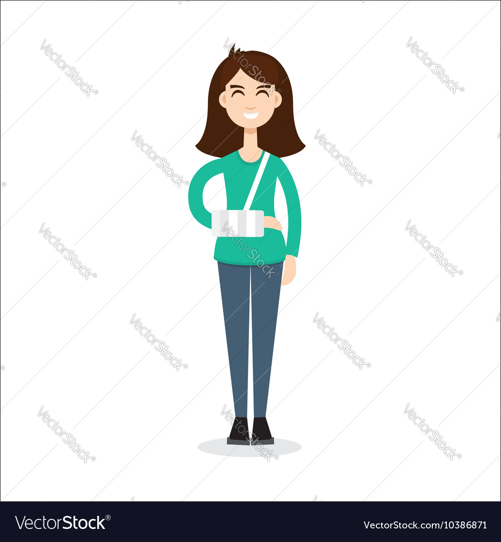 Broken arm girl vector image
