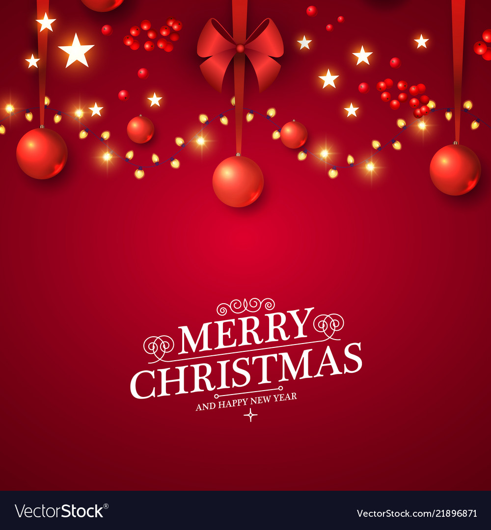 Christmas red background with lights glosst balls