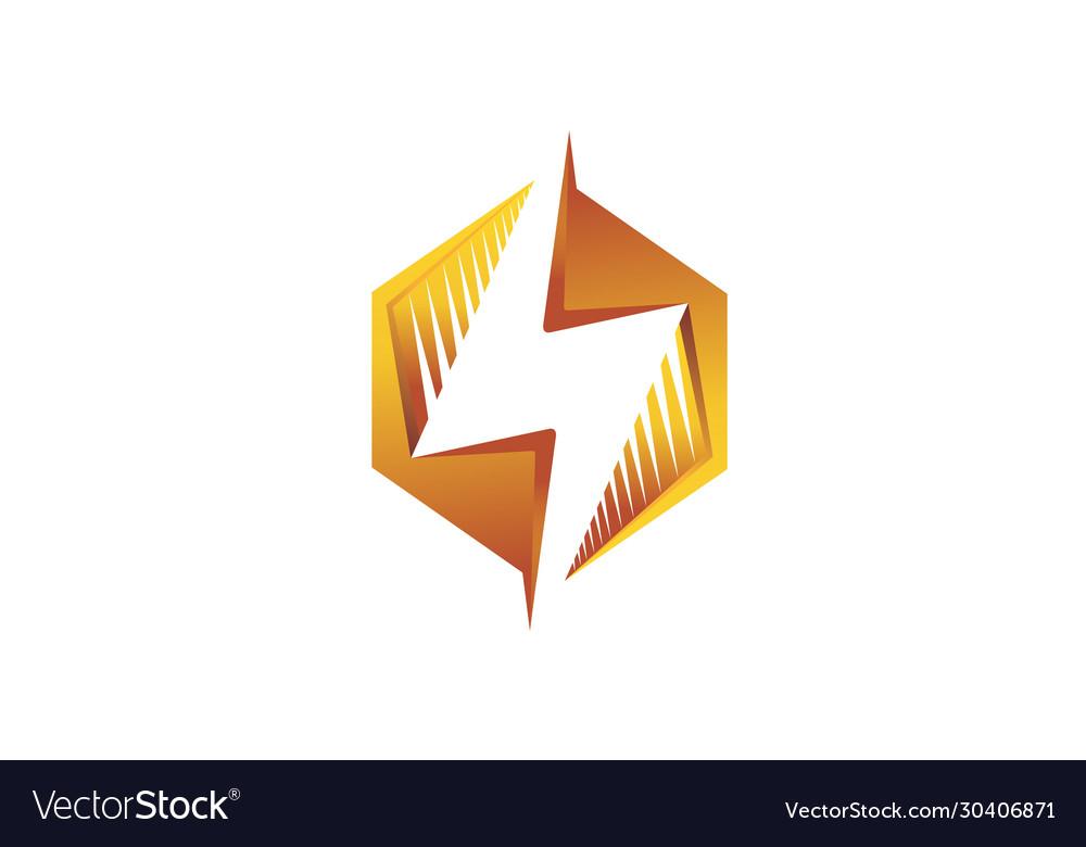 Creative abstract hexagon thunder logo