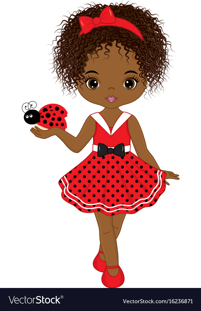 Download Cute little african american girl Royalty Free Vector Image