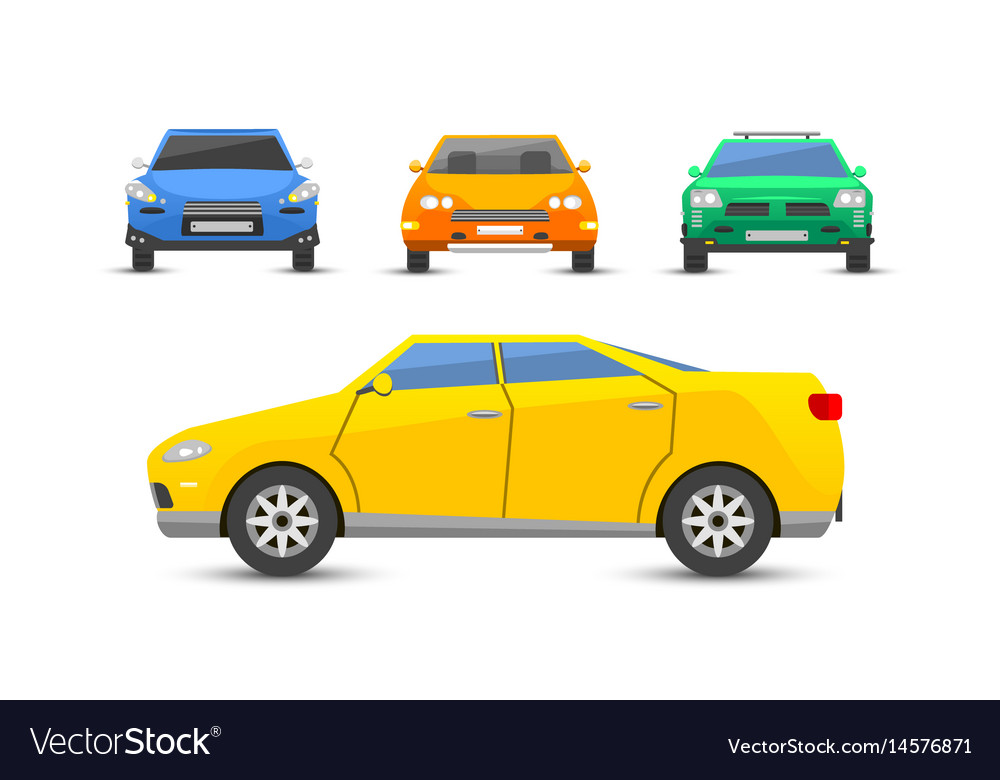 Flat yellow car vehicle type design style