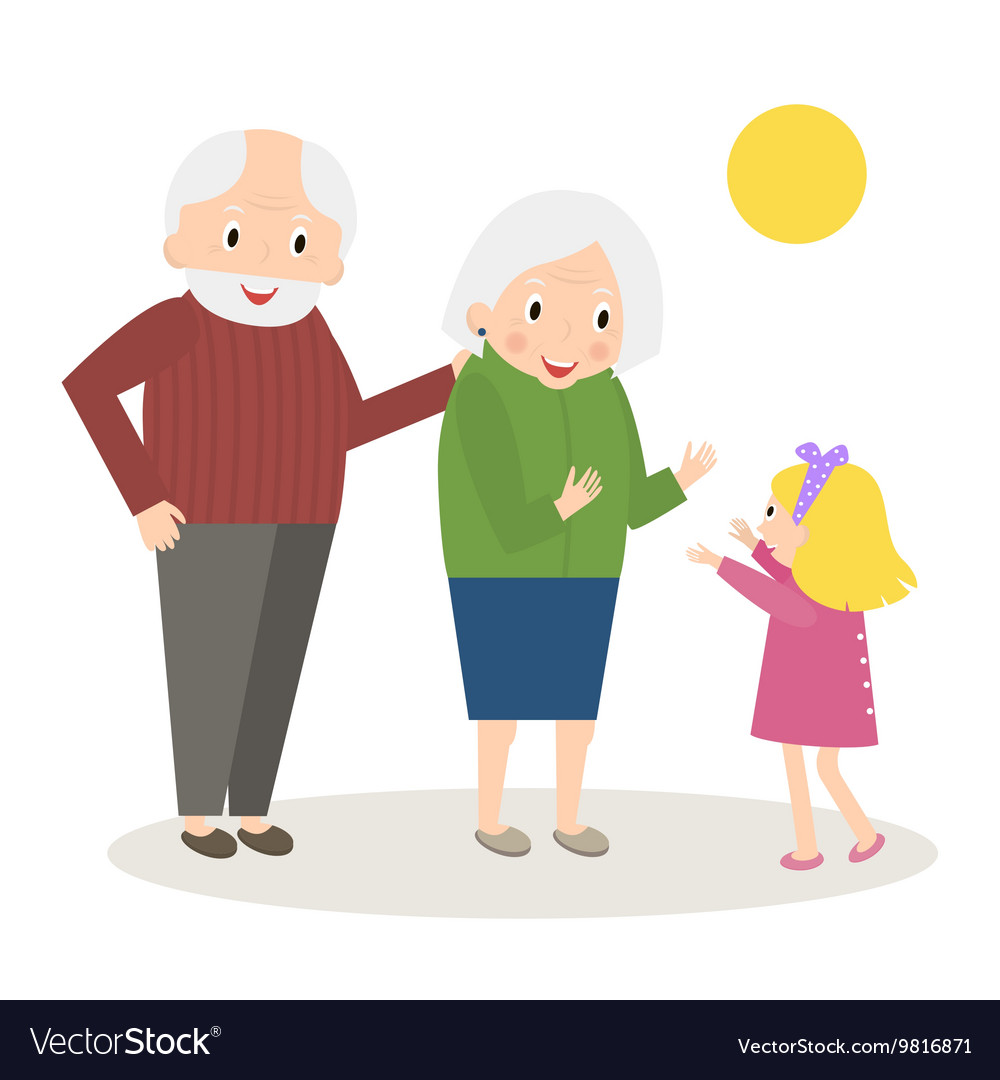 Happy Grandparents with little granddaughter vector image