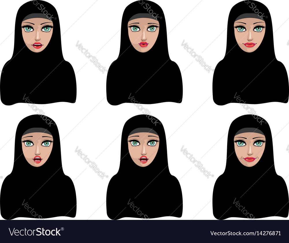 Muslim woman in black hijab