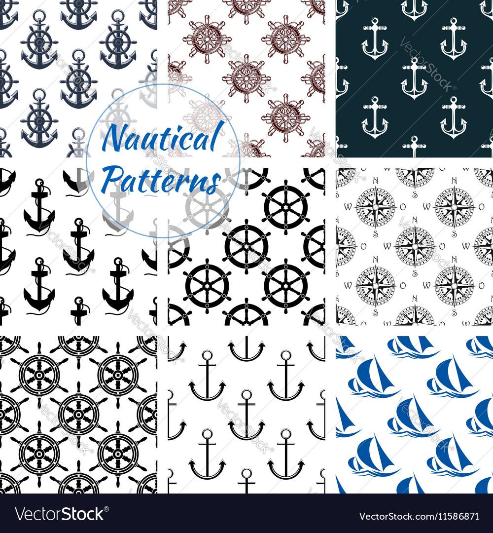 Nautical seamless pattern set of navy anchor
