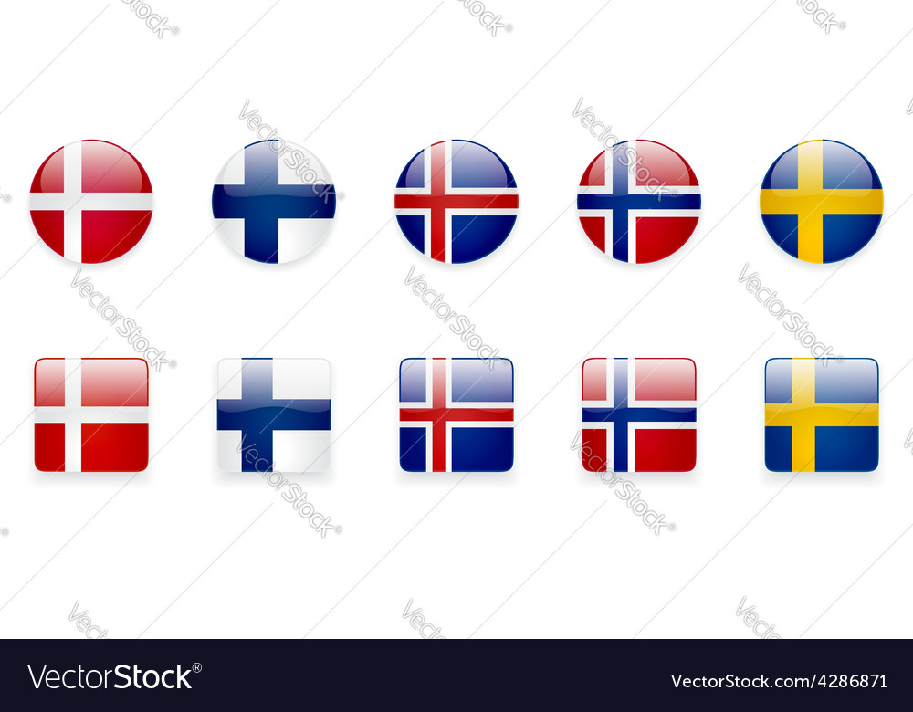 Nordic Countries Flags Icon Set vector image