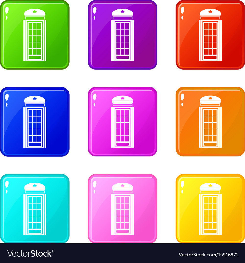 Phone booth icons 9 set