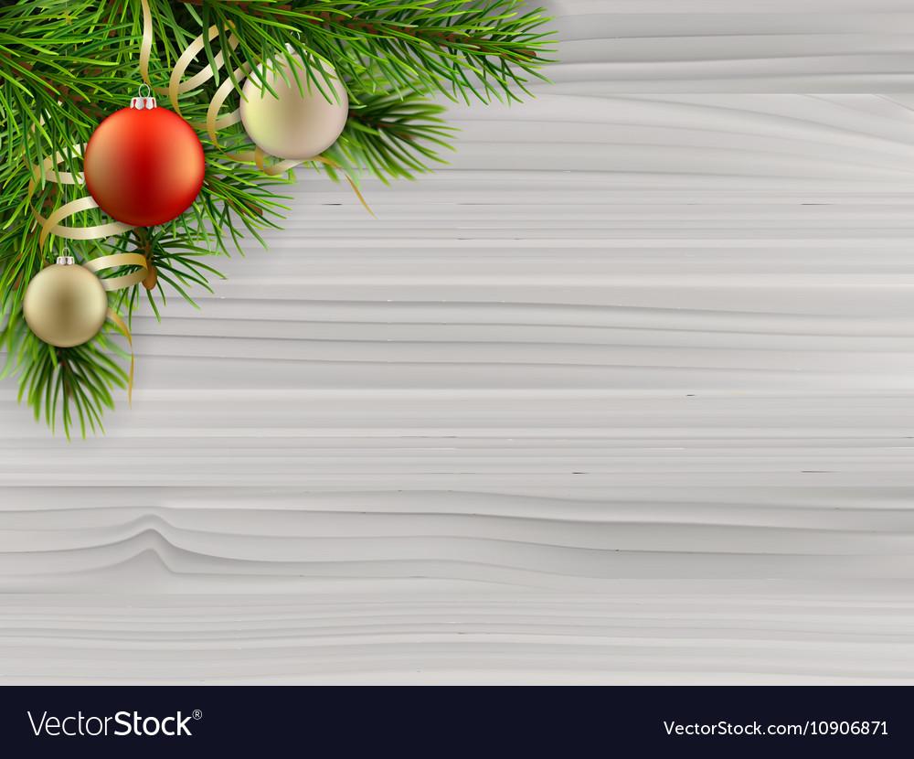 Pine tree branch christmas balls white wood