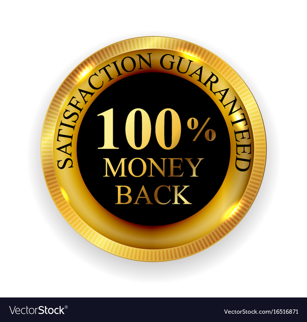 Premium quality 100 money back golden medal icon