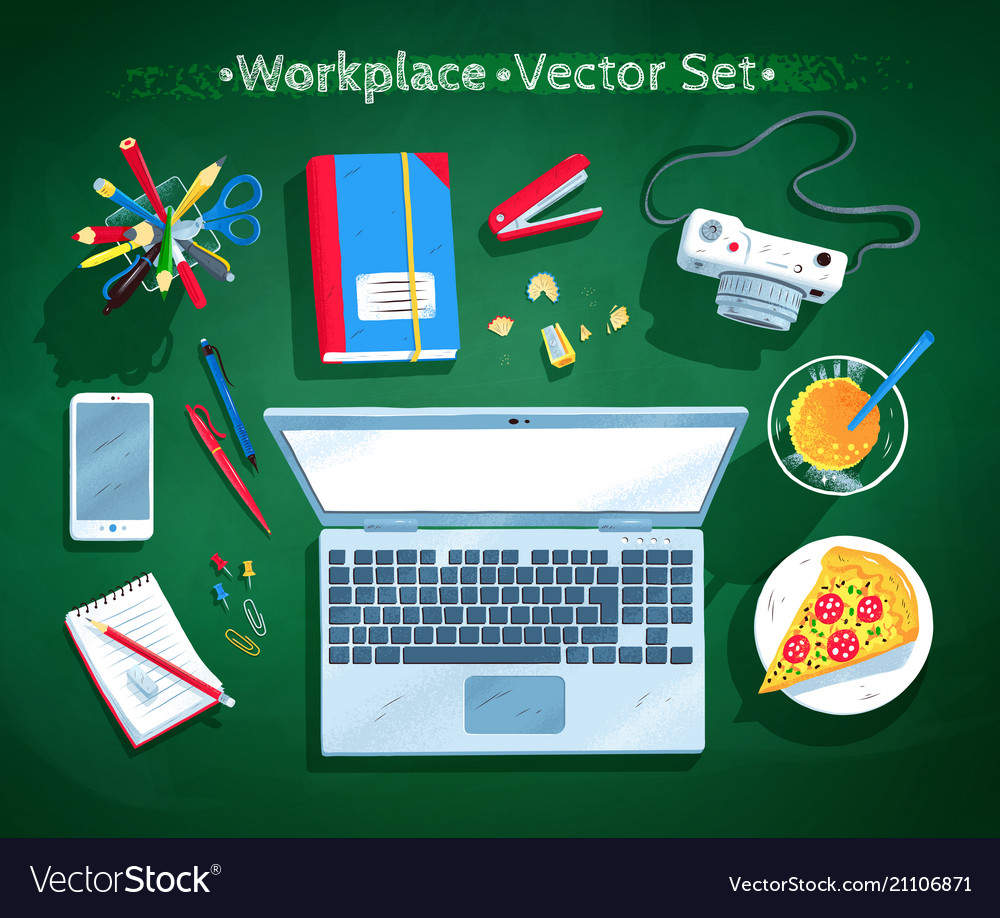 Set of office workplace