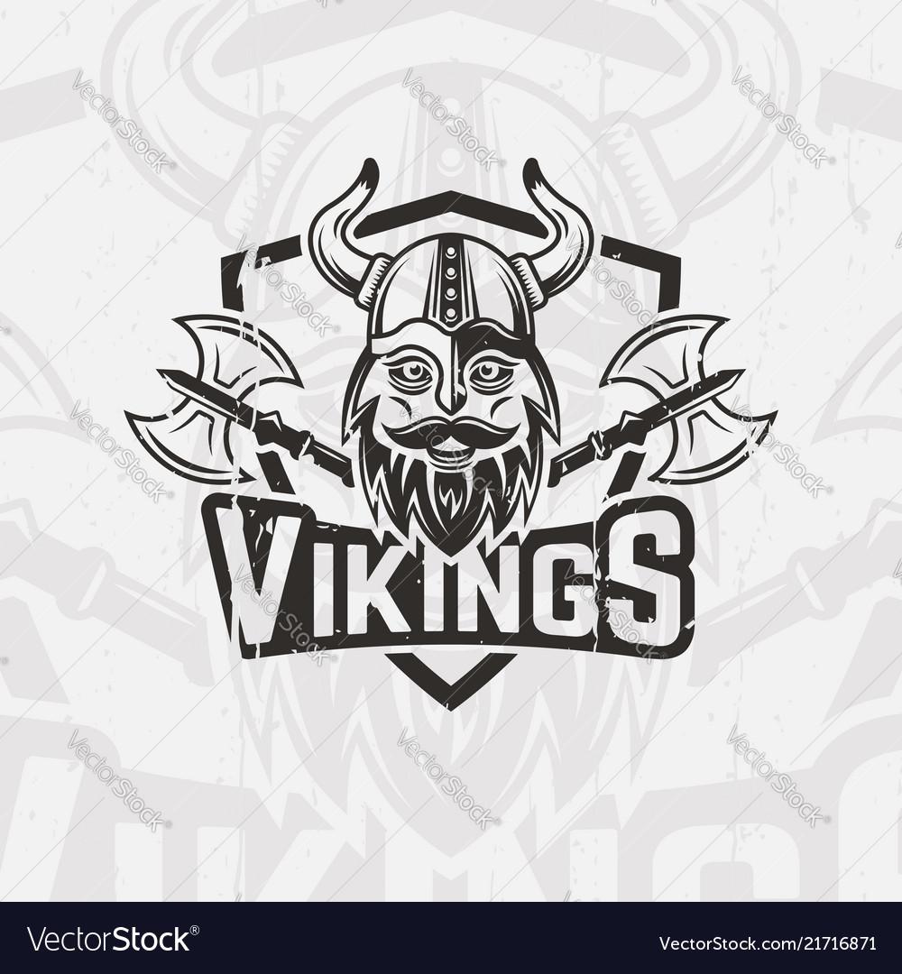 Viking in horned helmet sport team emblem