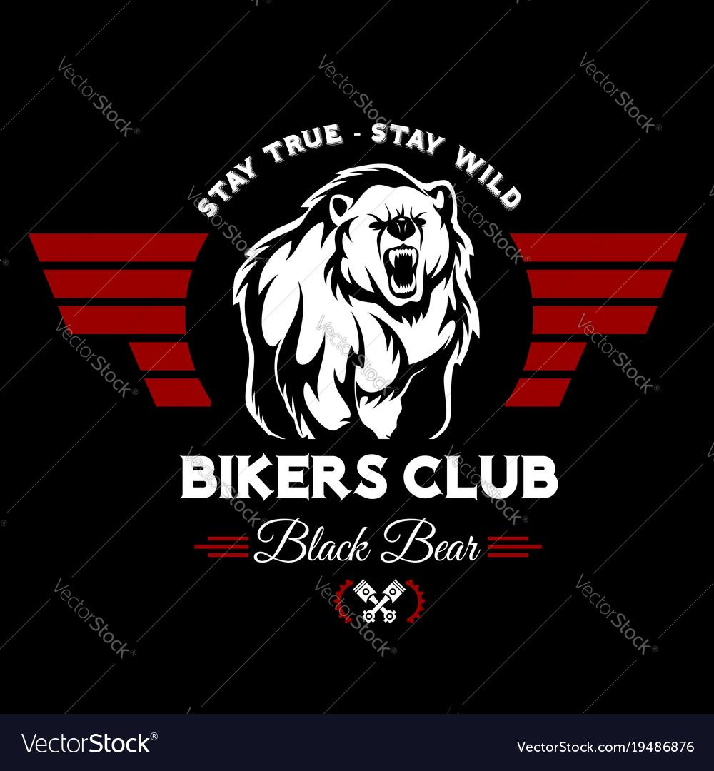 Bear bikers club tee print design t-shirt