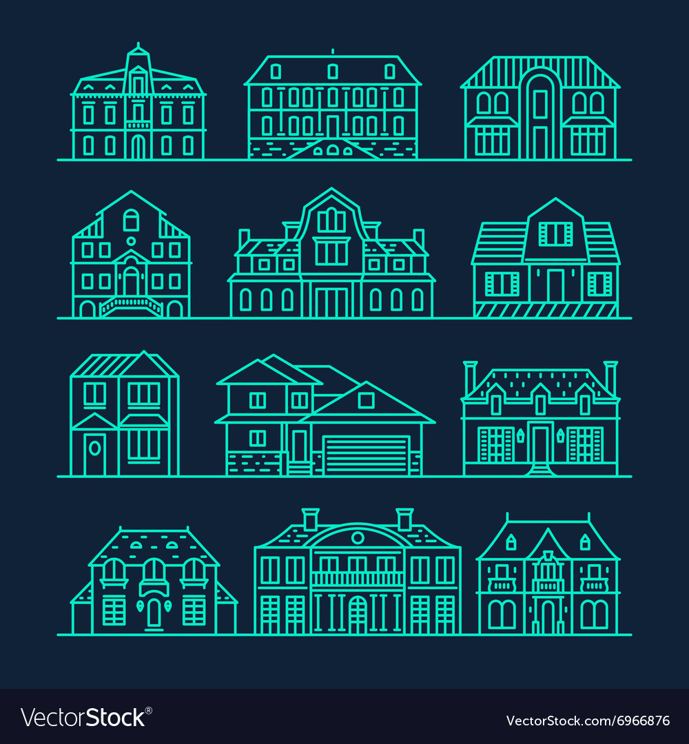 Big set houses icons elements linear style vector image