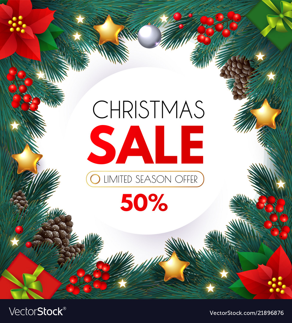 Christmas Sale Design Flyer Template With Fir Tree