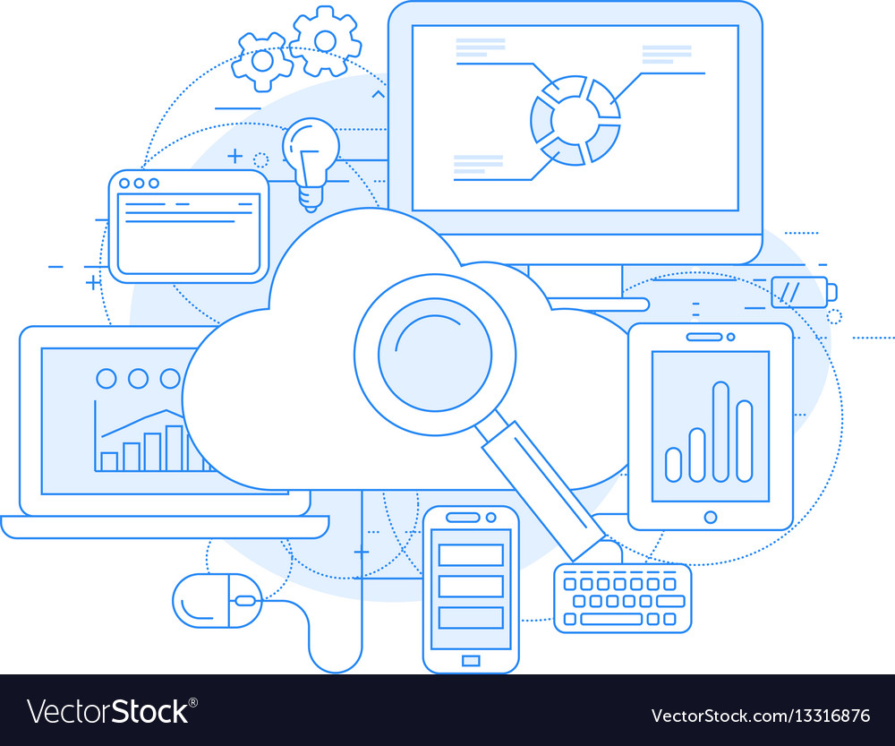 Cloud computing service and internet abstract desi