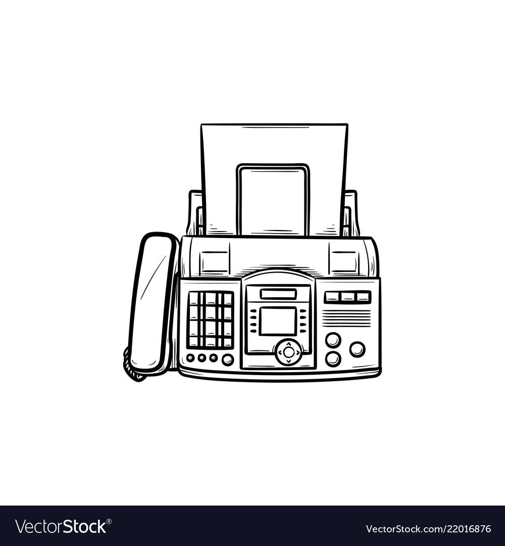 fax machine hand drawn outline doodle icon vector image vectorstock