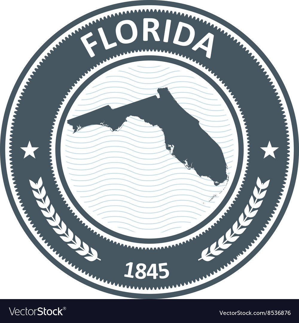 Florida stamp with state map contour