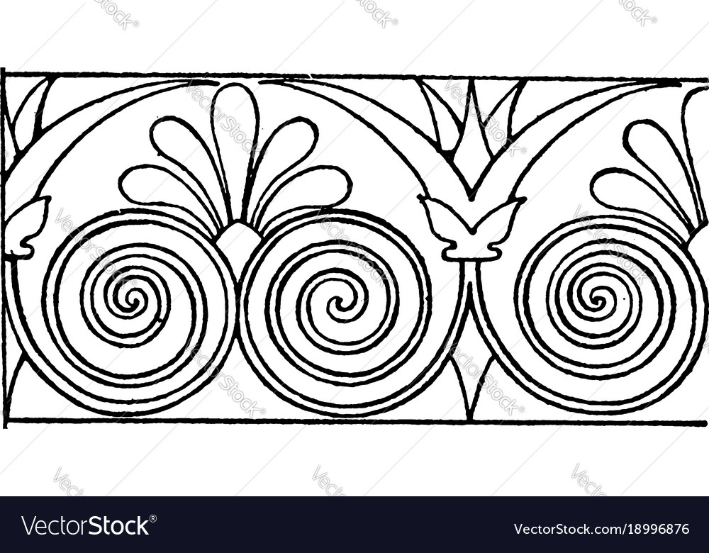 greek hydria link border is a scroll design of vector image