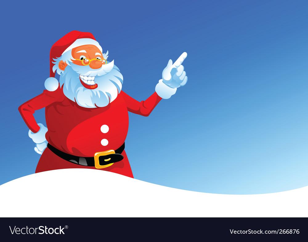 Happy Santa on winter background