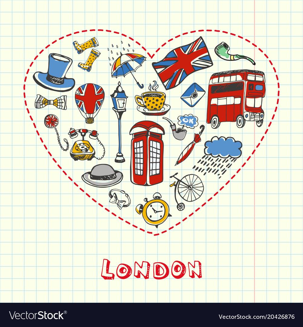 London pen drawn doodles collection