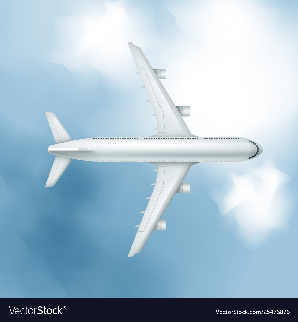 Realistic airplane on cloudy sky background
