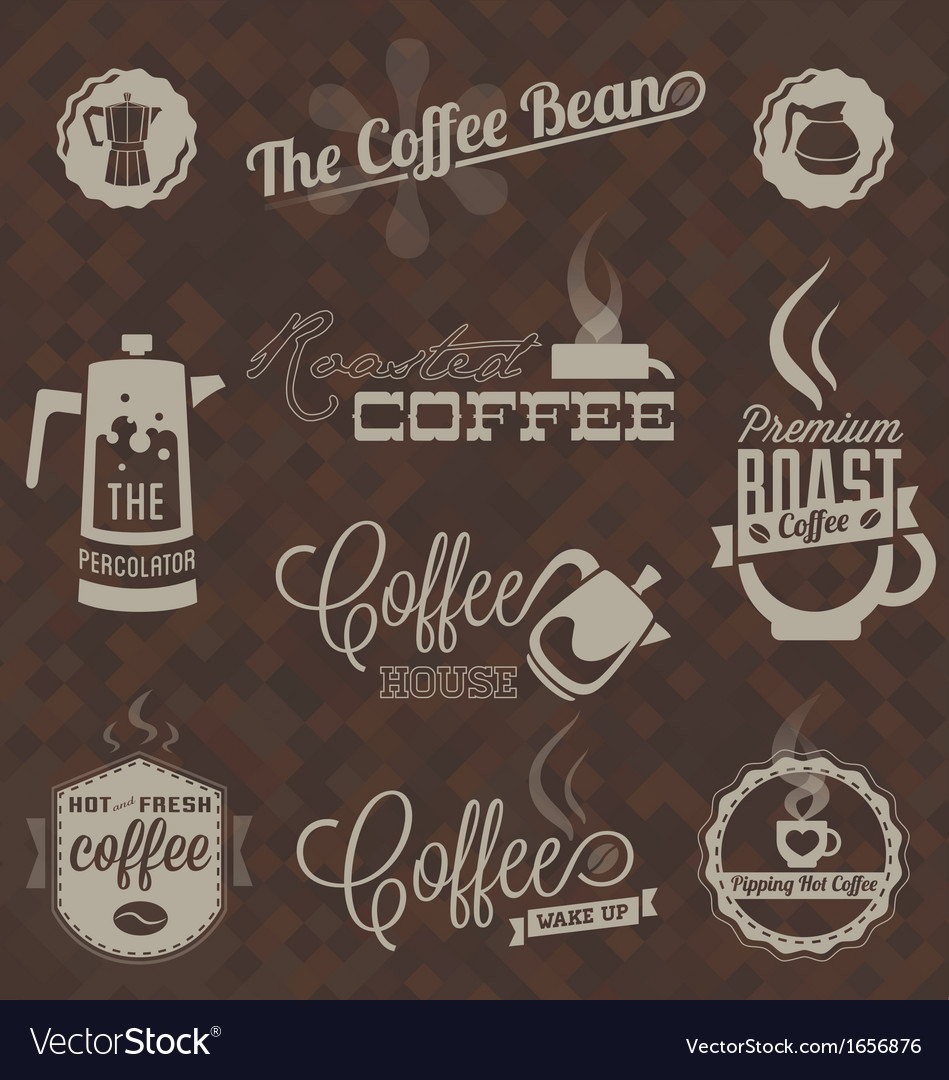 Retro Coffee Shop Labels and Symbols
