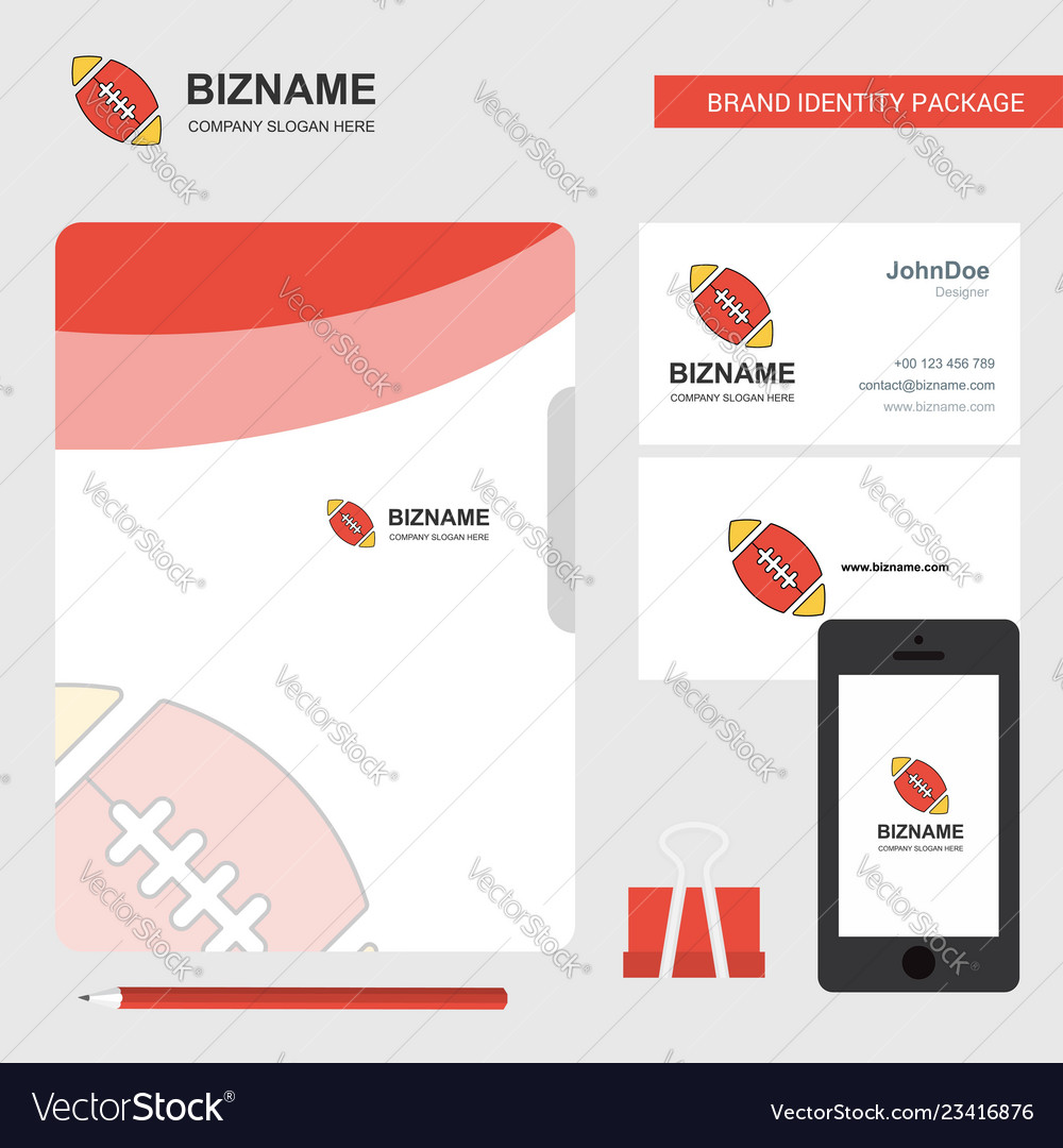 Rugby ball business logo file cover visiting card