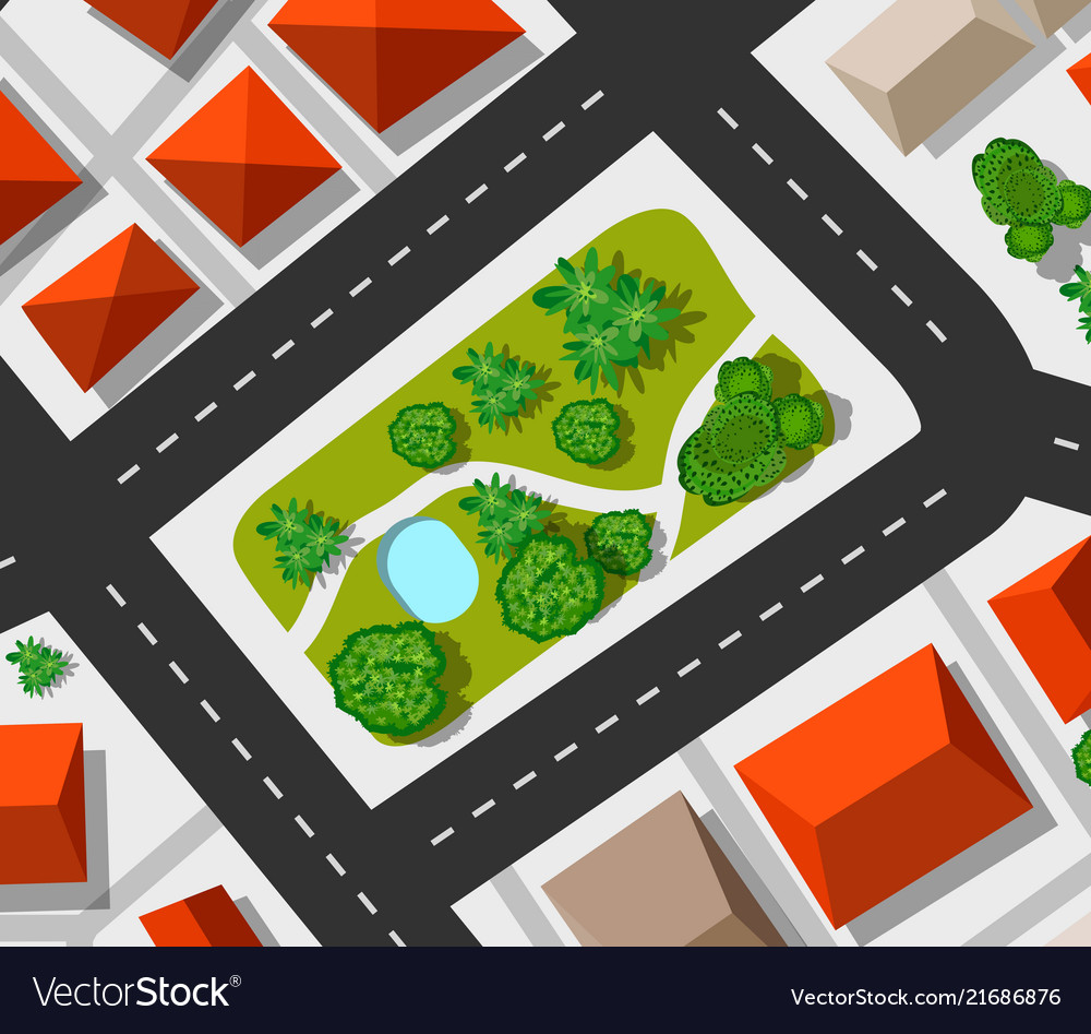 Top view city map of the urban