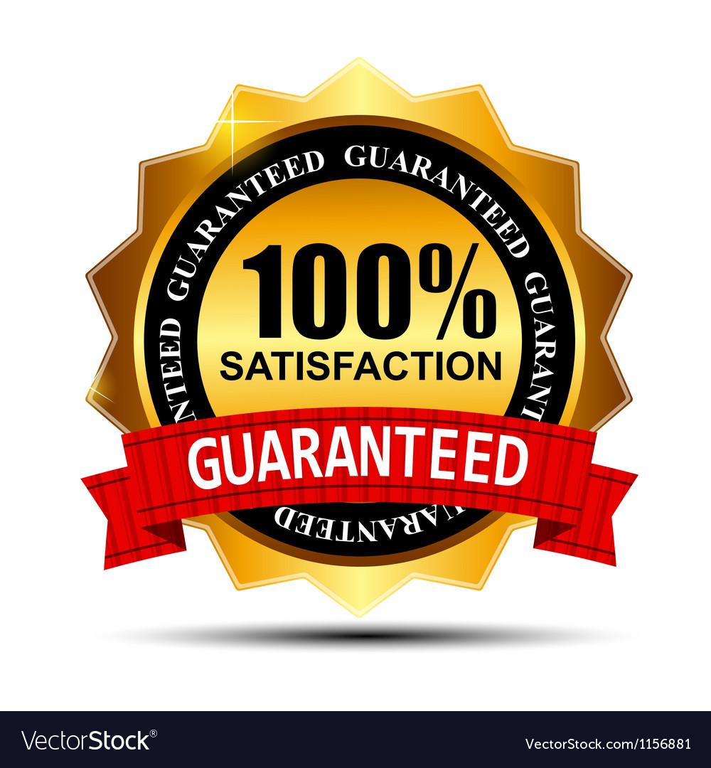 100 SATISFACTION guaranteed gold label with red