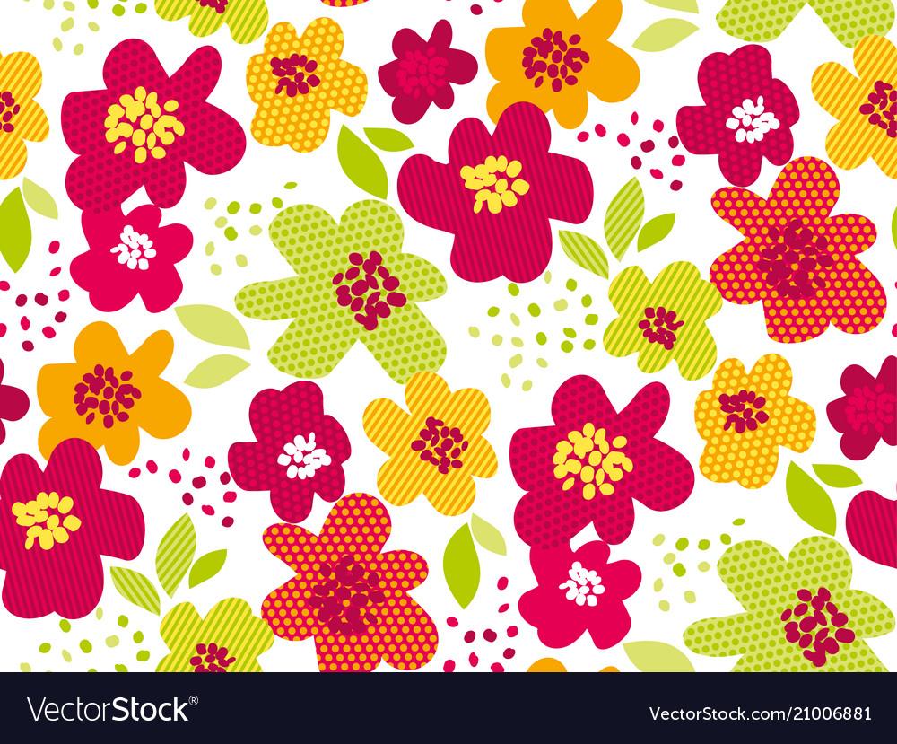 Abstract summer tropical flower seamless pattern