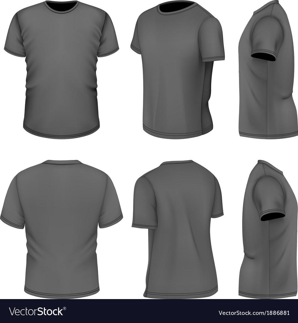 All six views mens black short sleeve t-shirt