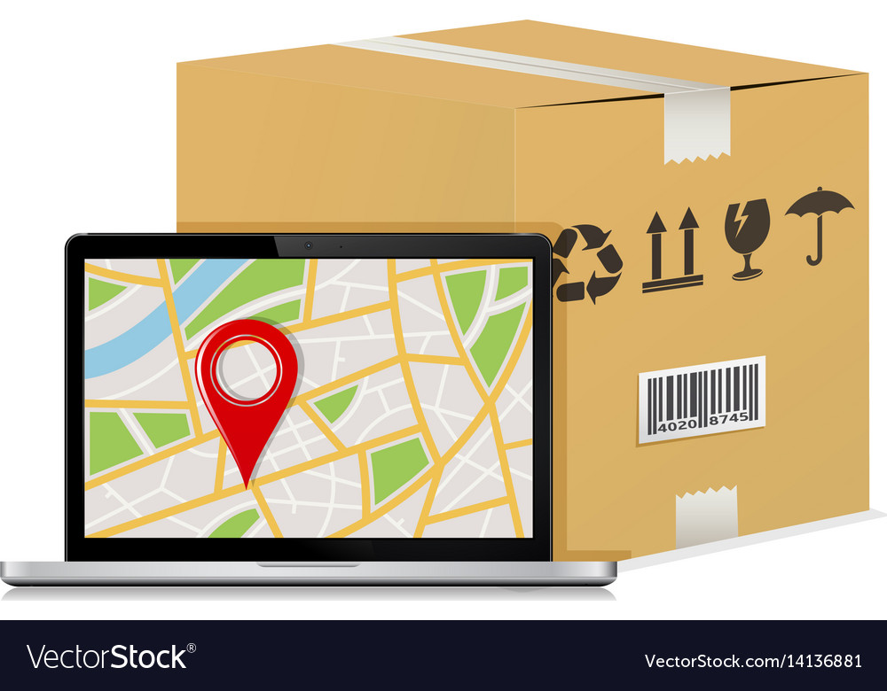 Carton parcel box and laptop with gps map vector image