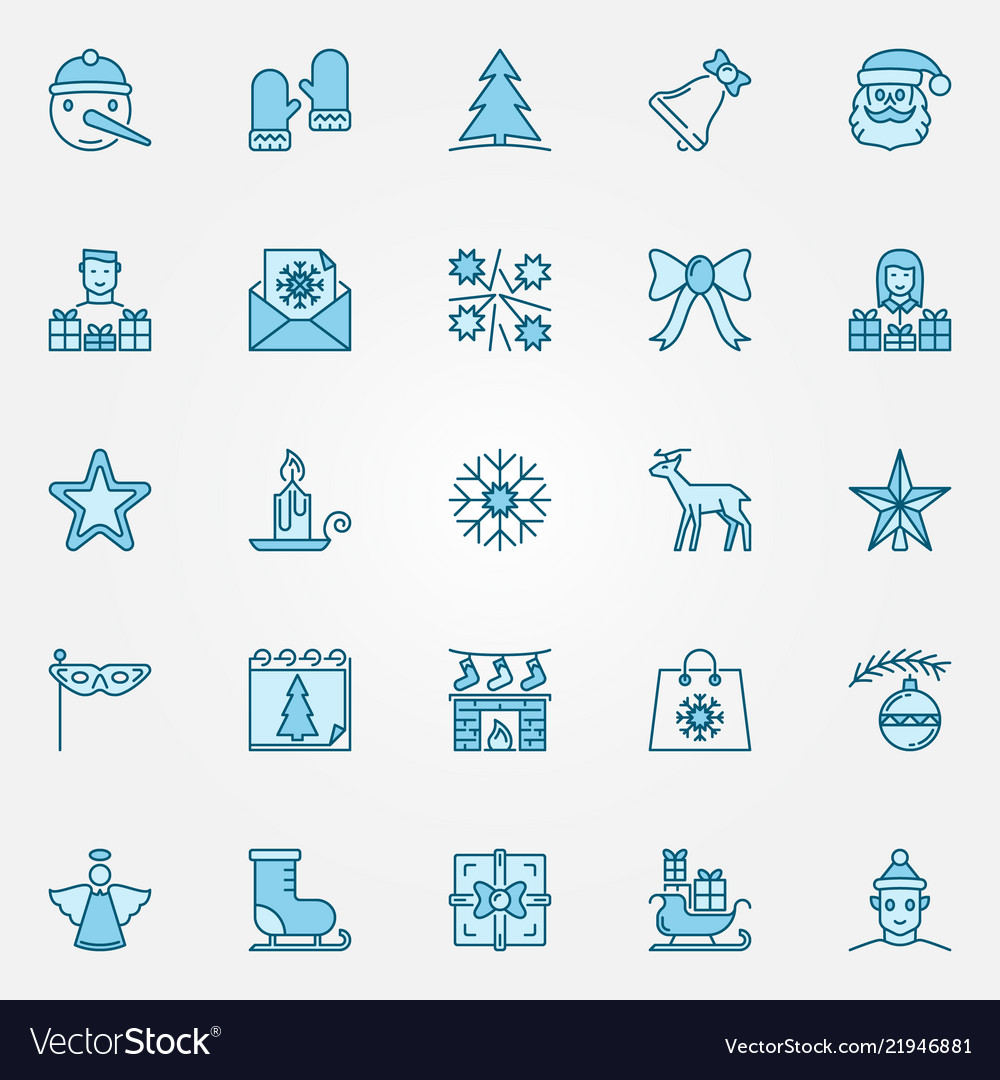 Christmas blue icons set - xmas and new year signs