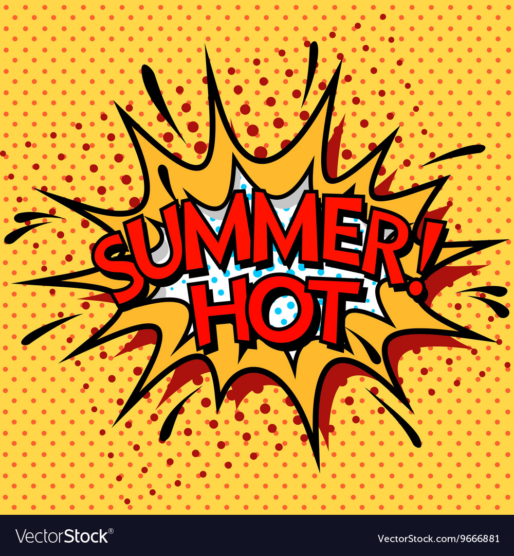 Color hot summer banner Pop art comic book style