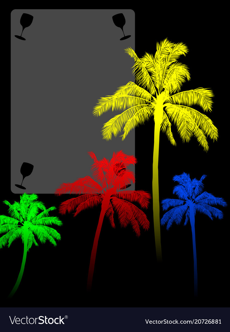 Coloured palm trees silohuette and copy space vector image