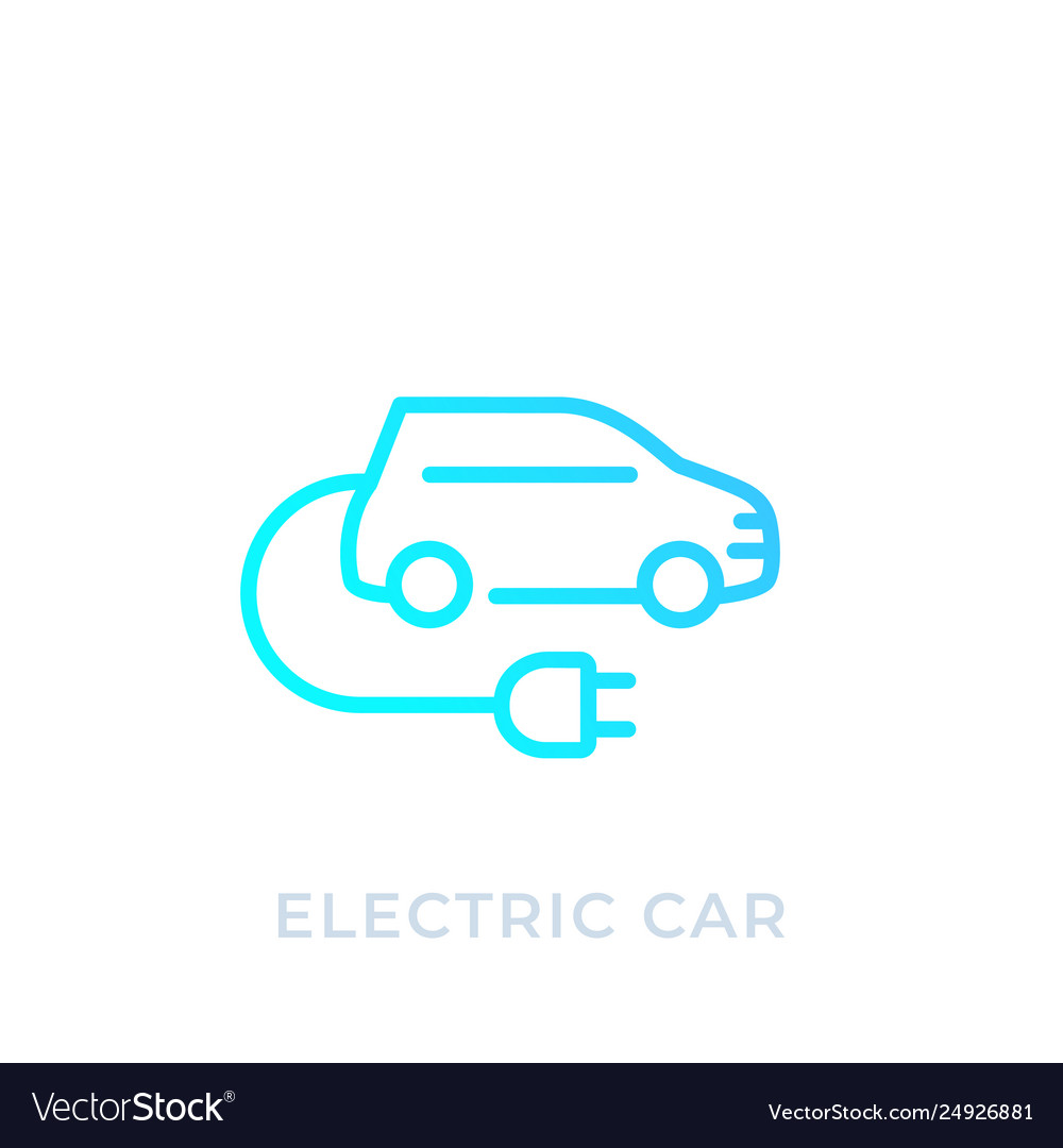 Electric Car With Plug Ev Linear Icon Royalty Free Vector