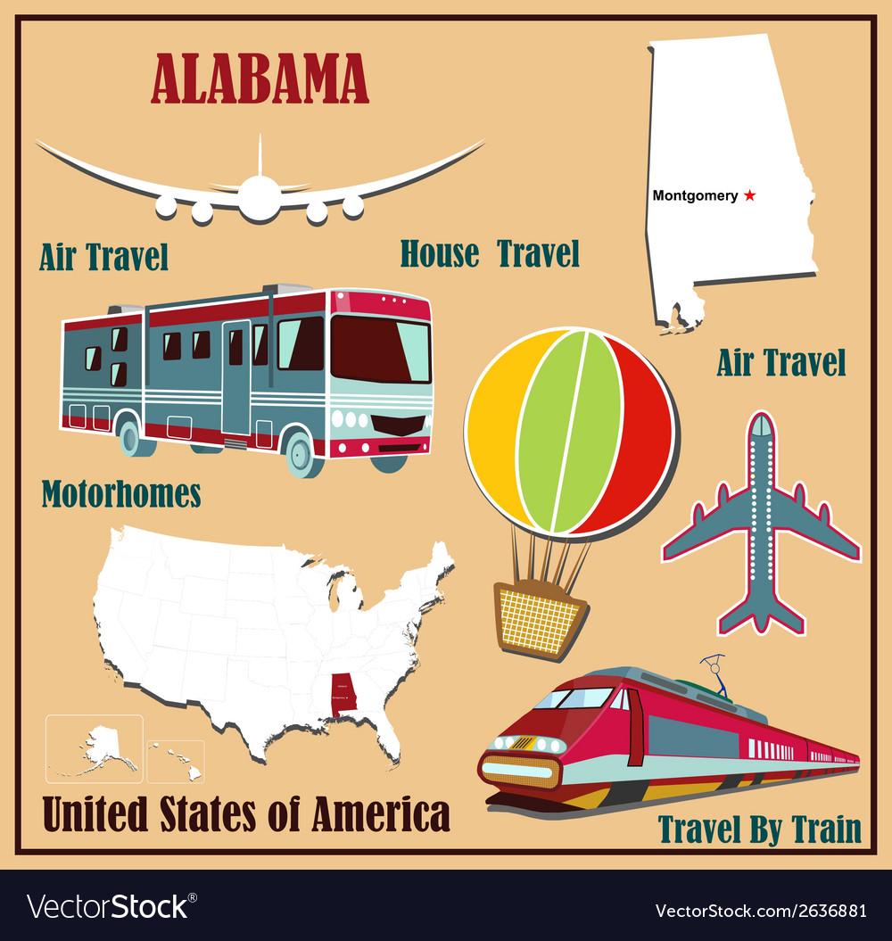 Flat Us Map.Flat Map Of Alabama Royalty Free Vector Image Vectorstock