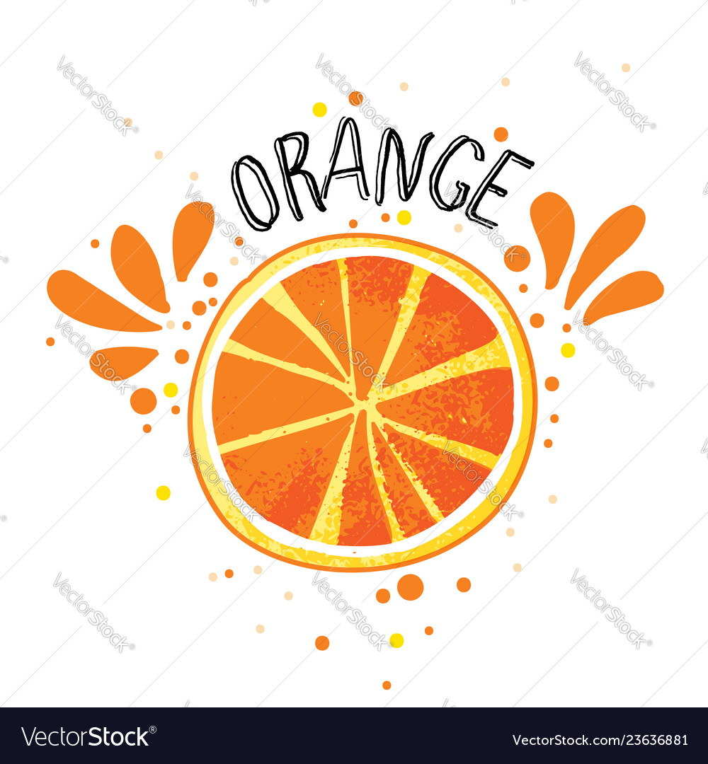 Hand draw orange slice of