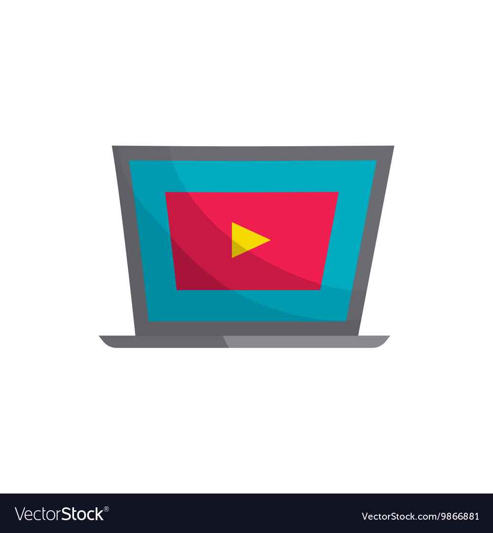 Laptop with player icon cartoon style
