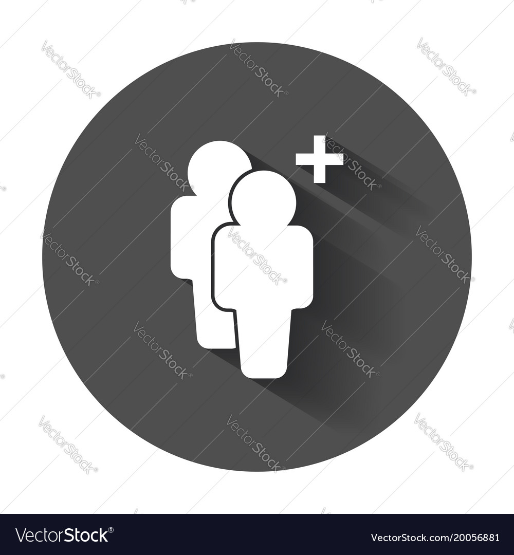 People icon with plus glyph flat people with long vector image