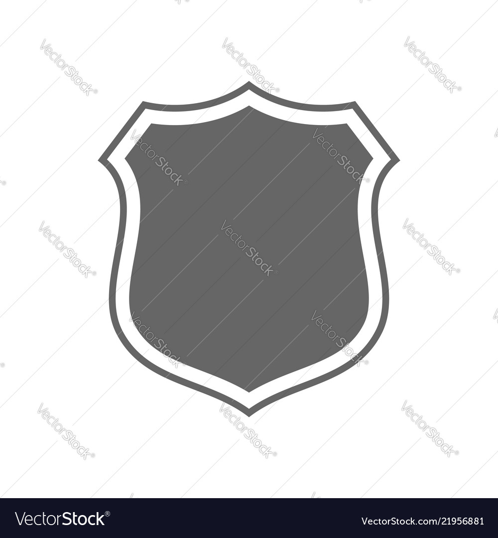 Shield shape icon gray label sign isolated on