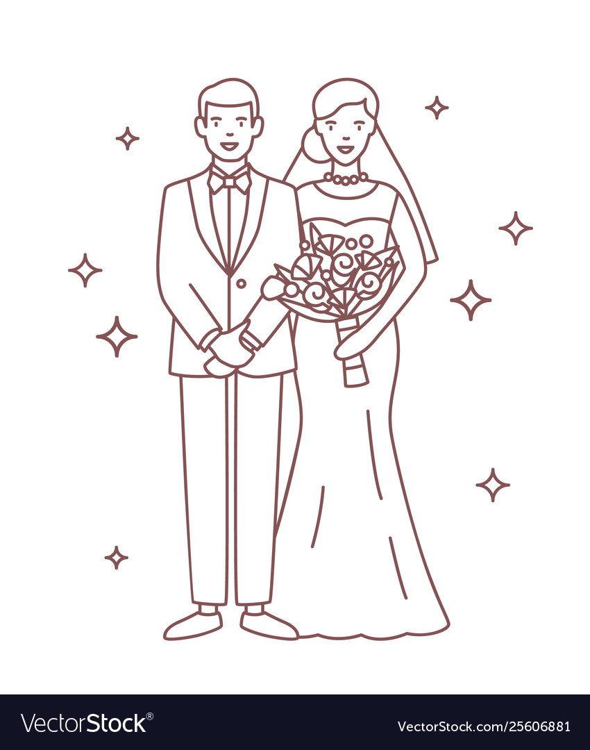 Smiling bride and groom drawn with contour lines
