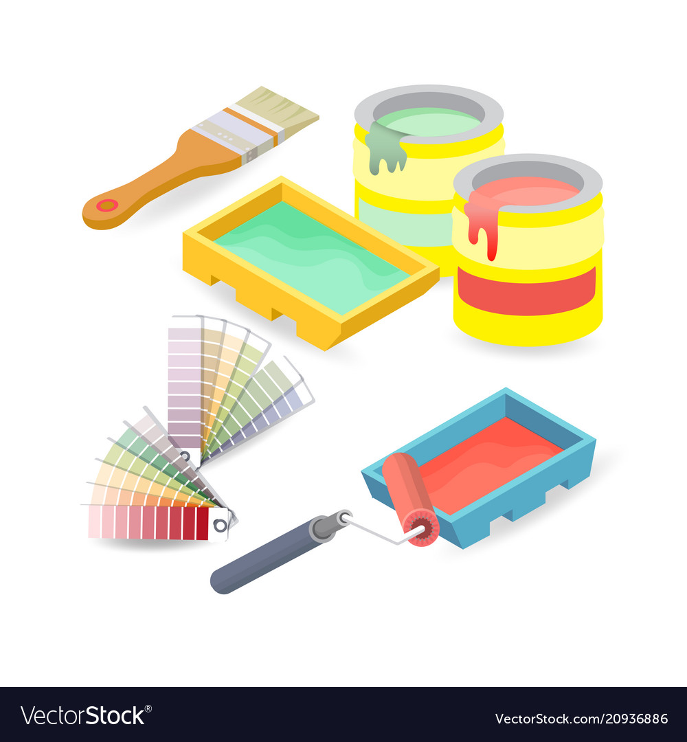 Brush roller palette isometric construction